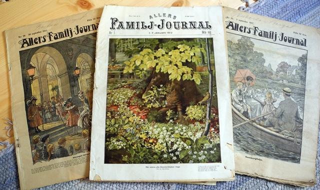 De hade tjusiga ettor förr. Här är Allers Familj-Journal från 1912 (den i mitten) och 1917.