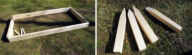 Med reglar på 145x45 millimeter gjorde jag en låda med måtten 2x1 meter. För att stabilisera den tillverkade jag sättpinnar som skruvades fast i hörnen.