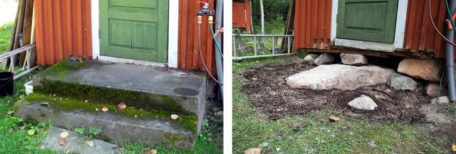 Bakom väggen ligger vårt badrum och precis vid knuten börjar avloppet. Vår nyfunna bergsknalle sticker upp ovan marknivå. Vi har försökt dölja vad vi ställt till med genom att fylla hålet med jord och slänga ut gräsfrön. Lösningen blir att gräva utanför stenen.