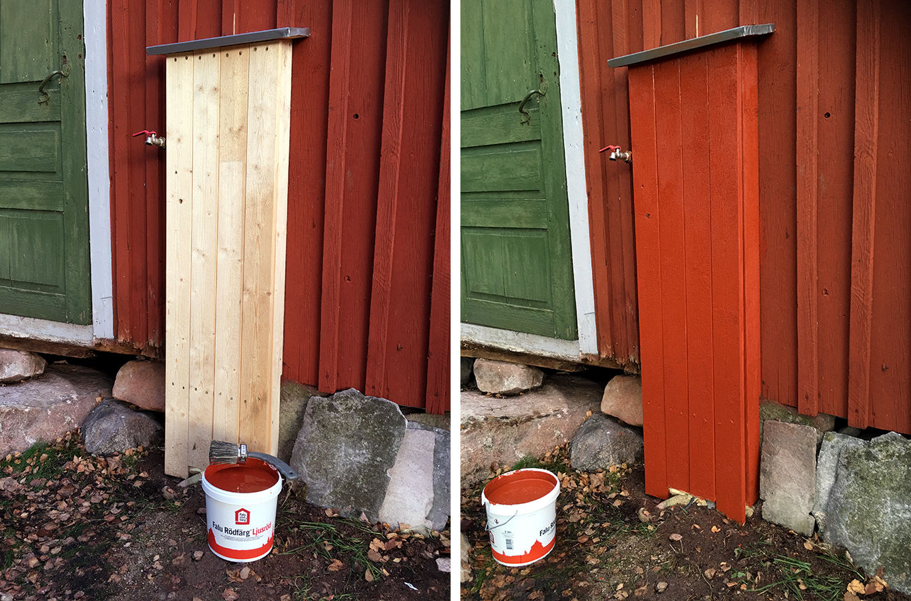 Med lite falufärg (ljusröd såklart) smälter lådan in i väggen. Den behöver dock en strykning till innan färgen täcker ordentligt. Tur att vi har en så mild höst att man fortfarande kan måla.