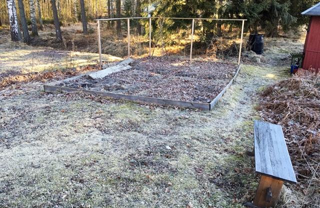 Här tänkte vi ställa växthuset. Bilden är tagen en tidig morgon, och solen kommer att nå växthuset ganska tidigt på dagen.